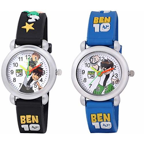 Shocknshop Analogue Boys' & Girls' Watch (White Dial Multicolor Strap) (Pack of 2)