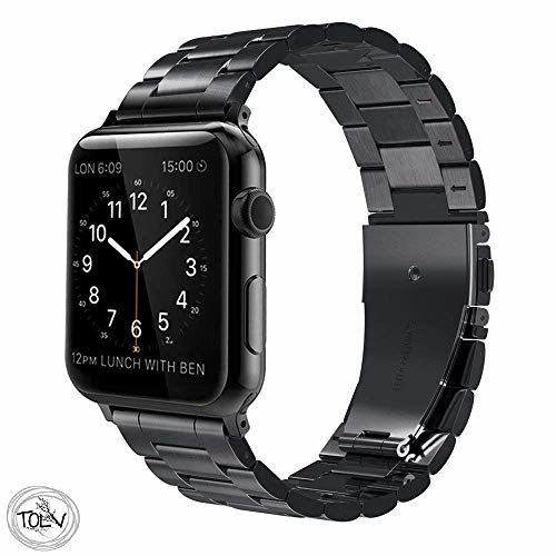 Tolv Present Compatible for Apple Watch Band 38mm - Stainless Steel Strap Series 1 2 3 4 (Black)