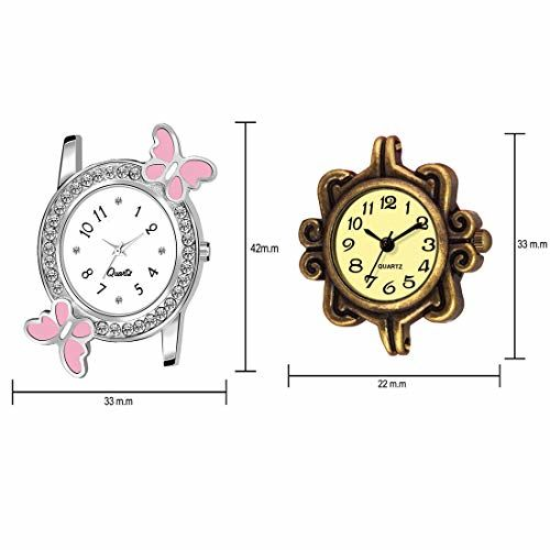 PAPERCUT Analogue Girls' Watch (White Dial Pink Colored Strap) (Pack of 2)