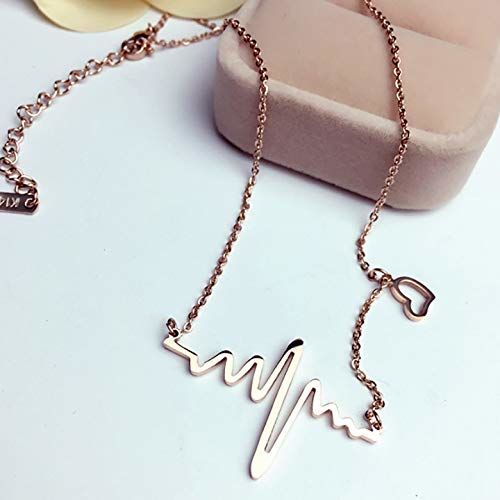 ARZONAI Latest Design Fancy Stylish Heartbeat Necklace Pendant Chain For Women & Girls for Party Wear & Gift Purpose (Golden)
