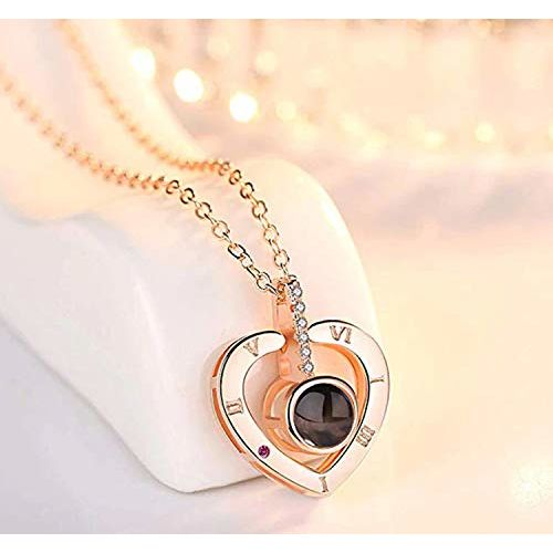 YouBella Jewellery 18k Rose Gold Plated I Love You in 100 Languages Heart Necklace Jewellery for Women and Girls (Style 1)