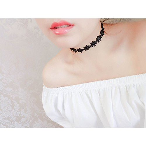 Shining Diva Fashion Jewellery Black Lace 7 Pc Combo Chokers Necklace Set for Women and Girls(cmb271)