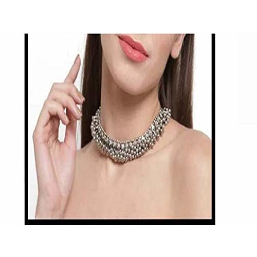Total Fashion Traditional German Silver Necklace Boho Designer Oxidized German Silver Plated Choker Necklace Set for Girls & Women.