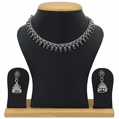 Sasitrends Oxidised German Silver Necklace with Earrings for Women and Girl's