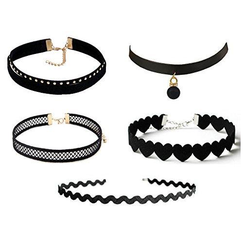 Michelangelo Black Plastic Fabric & Velvet Combo Of 5 Choker Necklace For Women