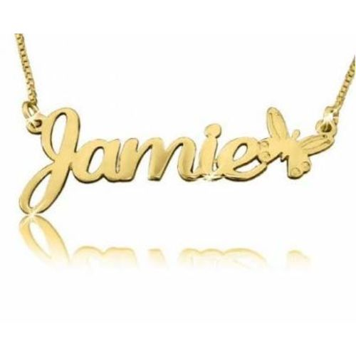 Antiquestreet Personalized Best Name Handmade Solid Customize Name Necklace Chain Gift (6, BUTTERFLY)