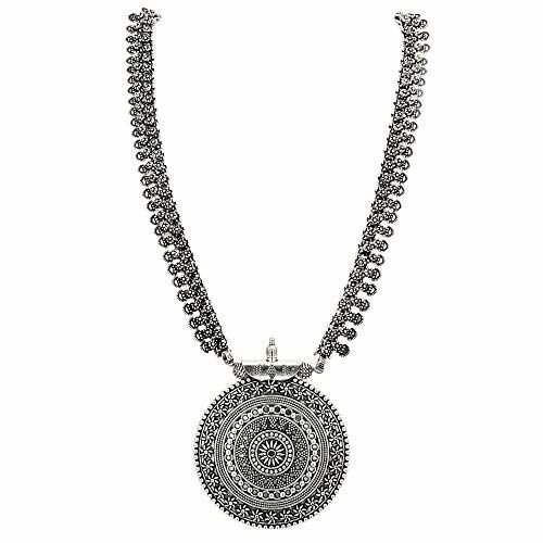 Sasitrends Brass Silver German Oxidized Long Haram Necklace for Women