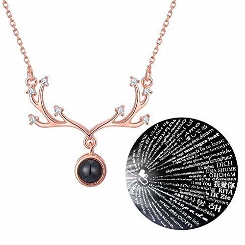 Grab Classy - I Love You in 100 Different Languages Necklace/Pendant (Deer Rosegold)