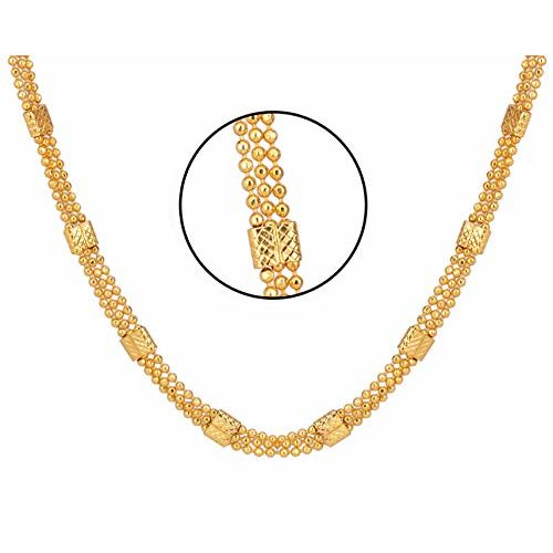 AanyaCentric Gold Plated Combo Set of Two 22 & 28 inches Long Necklace Fashion Fancy Jewellery Collection Neck Chain for Women Girls ( Pack of 2 )