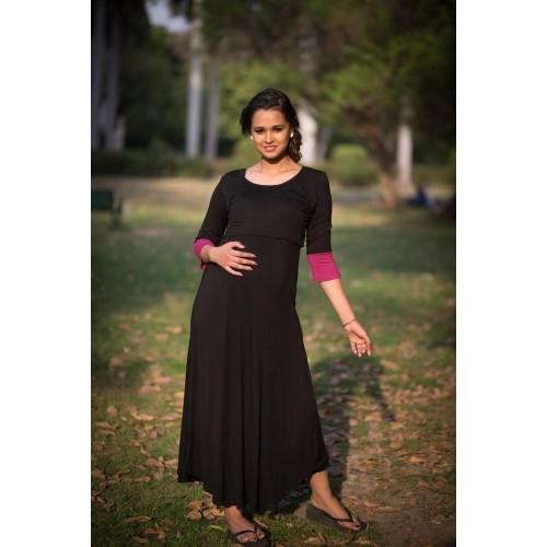 7652565fea7 Buy Momzjoy Elegant Black and Pink Lift Up Nursing Dress online ...