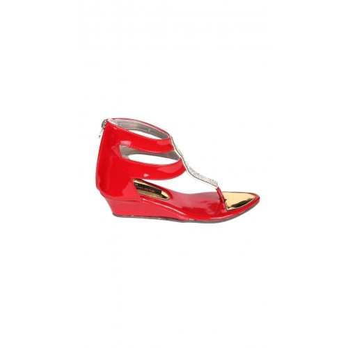 e5315006ef14 Buy Trilokani Girls Red Leather Solid Sandals online