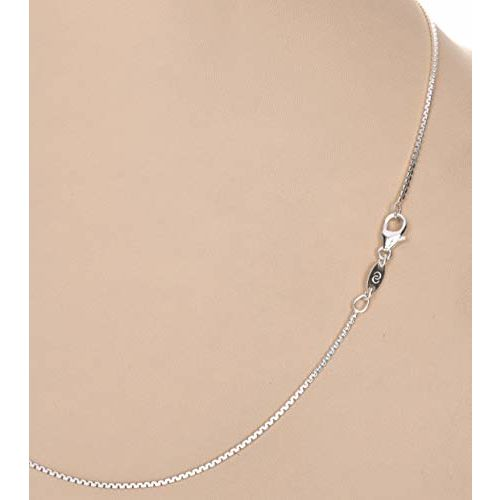 Clara Anti-Tarnish 92.5 Sterling Silver Box Chain Necklace in 16 18 24 inches for Women & Girls