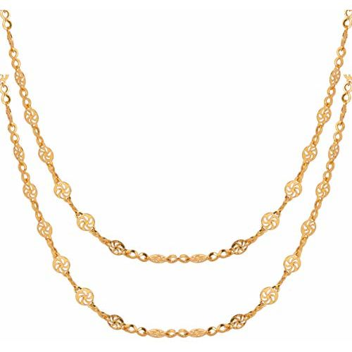 AanyaCentric Combo of Gold Plated Necklace Fashion Fancy Neck Chain for Women Girls