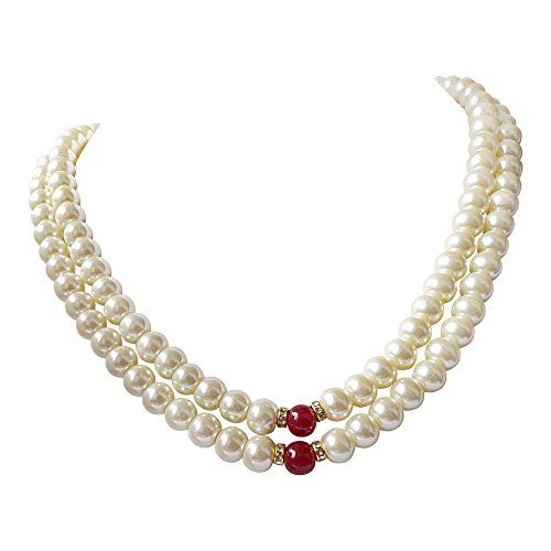SURATDIAMOND 2 Line White Shell Pearl and Red Stone Necklace Set for Women