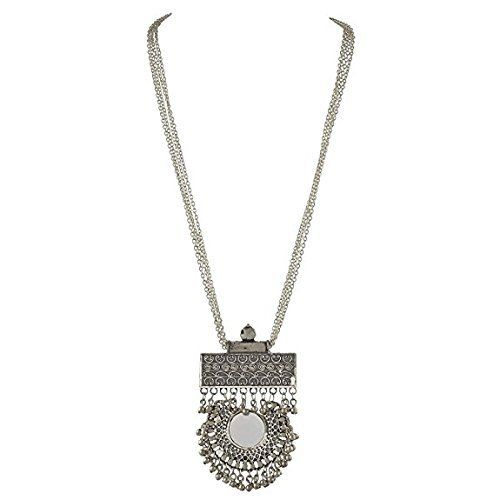 Total Fashion Silver Metal Sin Round Mirror & Ghunghru Long Chain Necklace for Girls & Women