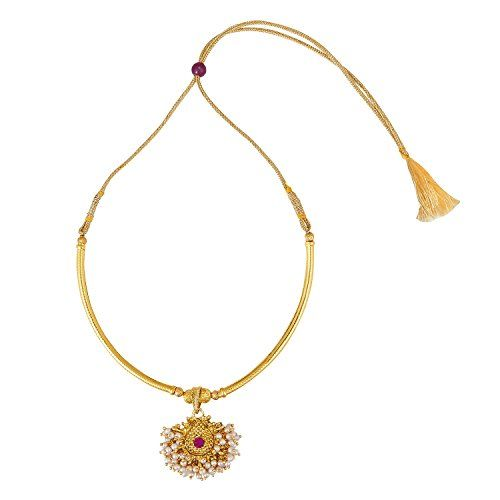 Shining Jewel - By Shivansh 24K Gold Plated Traditional Thushi Pipe Necklace For Women (SJ_2294)