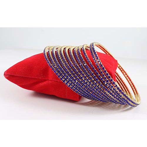 Zulka Studded by Stone Bangle Zircon Set for Women & Girls(Pack of 12) (2.2, Blue)