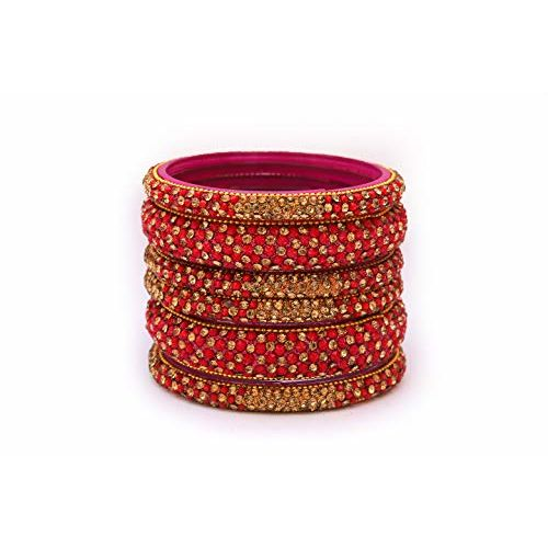 AabhayaArts Broad Beautiful Modern Traditional Fancy Glass Bangles Kangan Set Jewelry Bracelet Pattern Studded with Zircon & Beads for Women & Girls on Wedding