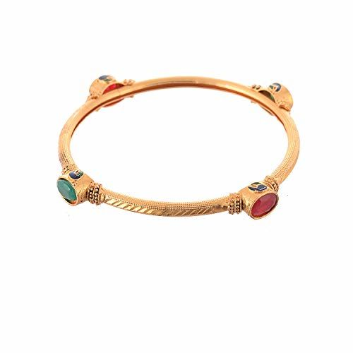Geode Delight Gold Plated Stone Studded Bangle (2.4)