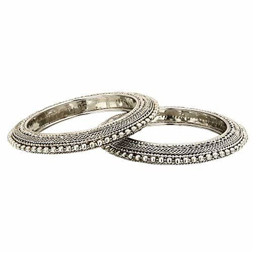 Sasitrends Traditional Oxidized Silver Plated Bangles for Women and Girls