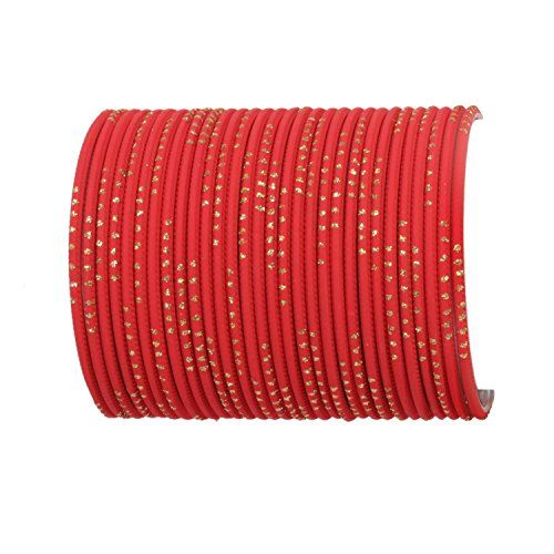 Sanara 32 Plain Bangles Set for Girls and Women Casual & Party wear Fashion Jewellery (Red, 2.10)