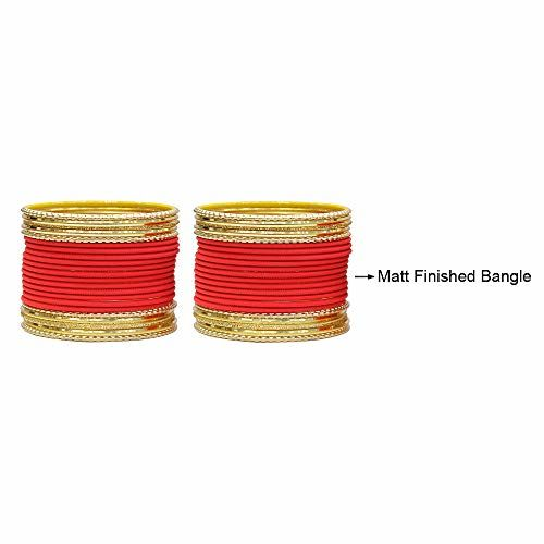 MUCH-MORE Red Alloy Carrot Bangles for Women (2.4)