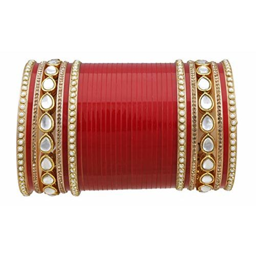 Chinar Jewels Bridal Punjabi Choora Wedding Wear Red Chuda Set of 78 for Marriage for Girls and Women. Latest small Chooda Gives you Royal look. (2.2)
