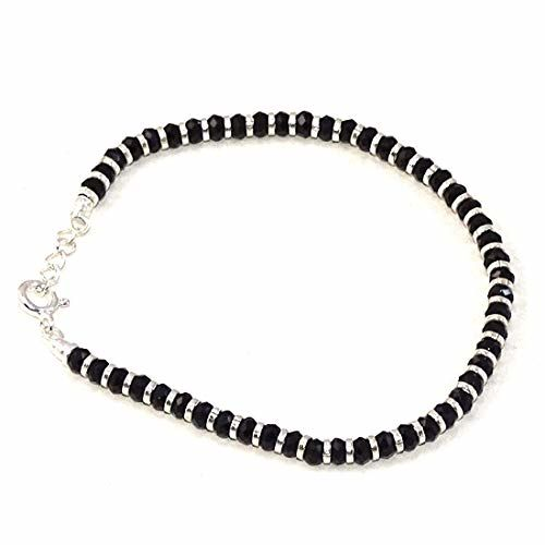 Nemichand Jewels Sterling Silver Nazariya with Black Crystals for Women 92.5% Pure Silver Bracelet for Women (7 inch + Extension)