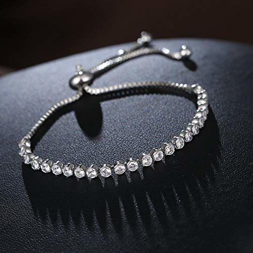 Shining Diva Fashion Crystal Charm Silver Plated Charm Bracelet for Women (Silver) (10857b)