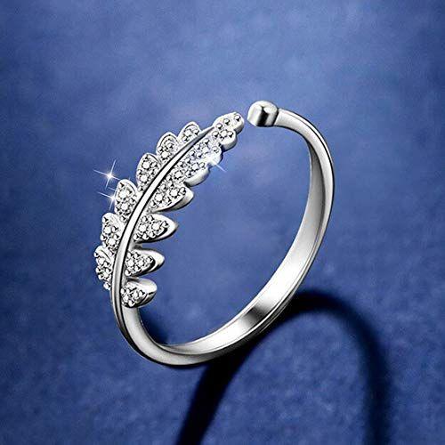 Best Valentine Gift:: Jewels Galaxy Zircon Leaf Silver Plated Plushy Adjustable Ring for Women/Girls