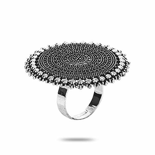 YouBella Jewellery Afghani Oxidised Silver Plated Combo of 3 Rings for Women and Girls (Adjustable Size) (Style 1)