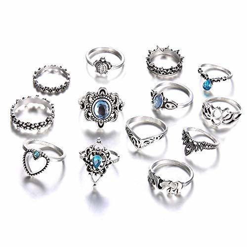 Shining Diva Fashion Set of 13 Boho Midi Finger Crystal Rings for Women and Girls (10067r)