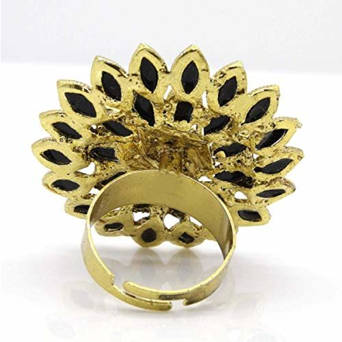 A.R. FASHION Black Stone Gold Plated Finger Ring For Women (6 Colour's Variations) (Black) RNG049