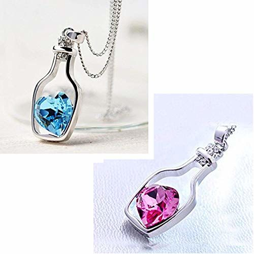 Impression Rhodium Plated Combo of 2 Solitaire Pink and Blue Heart Bottle Pendant for Women and Girls