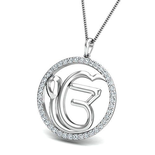 Chandrika Khanda Gold and Rhodium Plated Alloy God Pendant for Men & Women Made with Cubic Zirconia