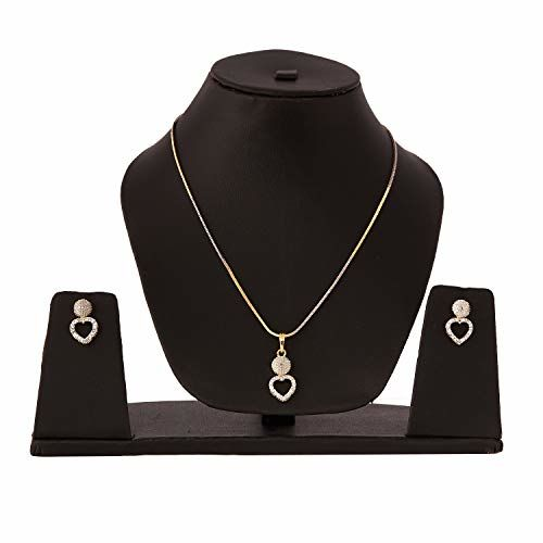 Zeneme American Diamond Traditional Fashion Jewellery Combo of Necklace Pendant Set/Ring/Bracelet with Earring for Women & Girls (Heart)