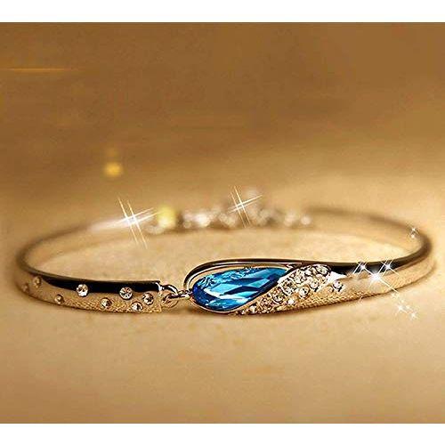 Valentine Gift By Shining Diva Italian Designer Non Precious Metal Jewellery Set for Women (Blue) (rrsdcmb208)
