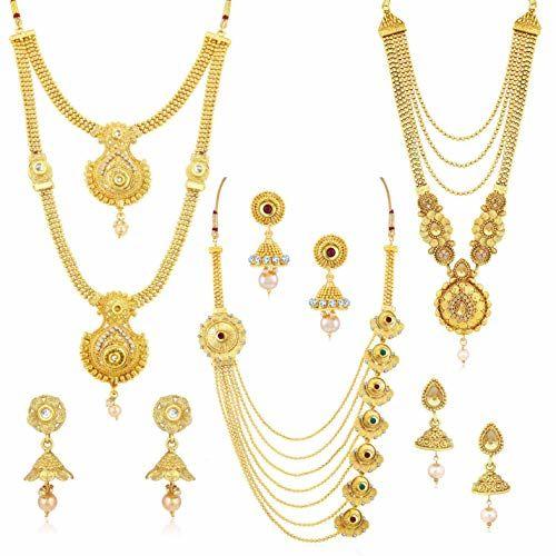 Sukkhi Ethnic Gold Plated Wedding Jewellery Kundan Multi-String Set of 3 Necklace Combo for Women (SKR48716)