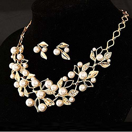 YouBella Jewellery Sets for Women Pearl Studded Necklace Jewellery Set with Earrings for Girls/Women (Gold)