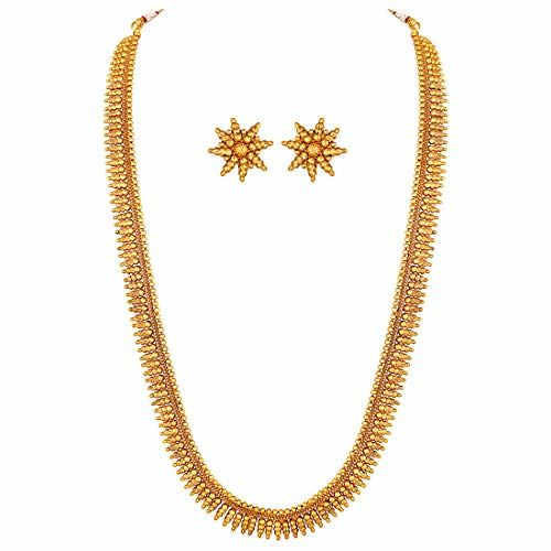 Peora Traditional Gold Plated Long Maharani Necklace with Earrings South Indian Festive Bridal Wear Jewellery Set for Women and Girls