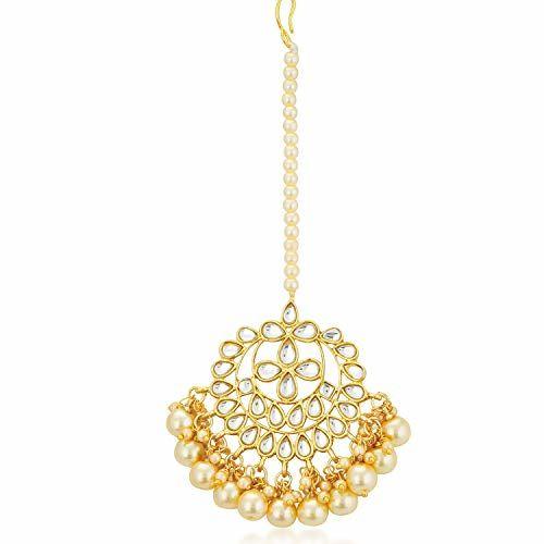 Sukkhi Trendy Kundan Gold Plated Wedding Jewellery Pearl Choker Necklace Set for Women (N73544)