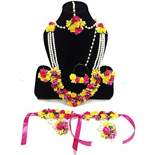 Naazz Flower Jewellery Set for Haldi Baby Shower Mehndi Godbharai Designer Yellow and Pink Paper Set for Women and Girls
