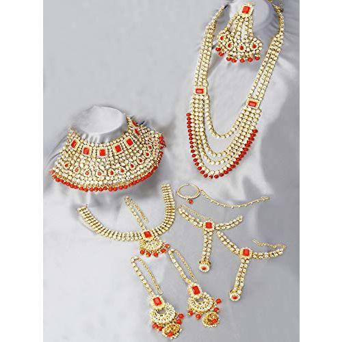 Peora Ethnic Indian Traditional Gold Plated Kundan Dulhan Bridal Jewellery Set with Choker Earrings Maangtika Hathphool for Women