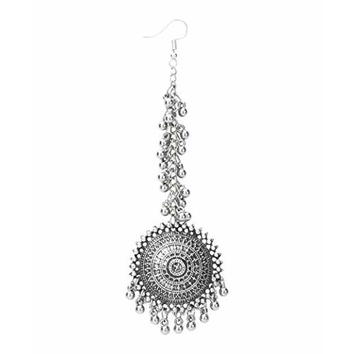 Yellow Chimes German Oxidised Silver Antique Traditional Maang Tikka with Earrings Jewellery Set for Women and Girls (Silver)