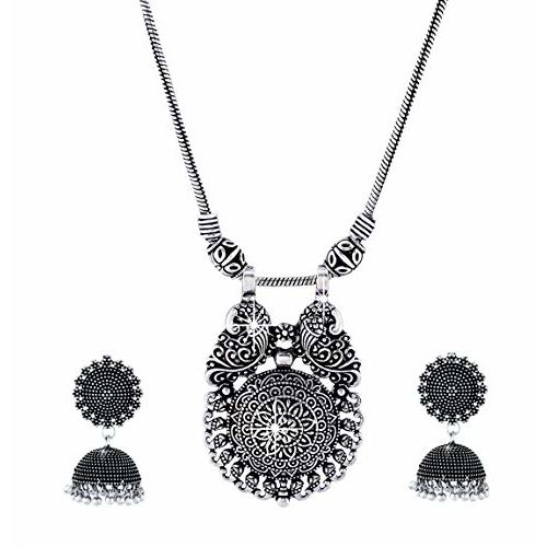 Yellow Chimes German Silver Oxidized Latest Fashion Pendant Necklace with Earrings Traditional Jewellery Set for Women and Girls (Charm Pendant-1)