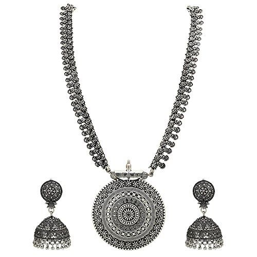 Sasitrends German Oxidized Long Necklace Earring Set for Girls and Women (Silver)