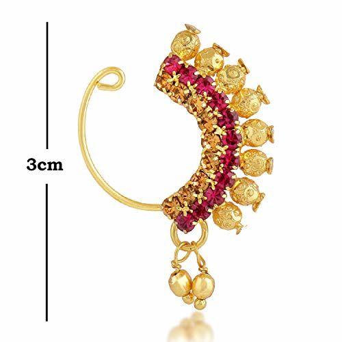 PARNA;Beyond Love Traditional Maharashtrian Gold Beads Ruby Stone Diamond Alloy One Gram Gold Plated Designer Banu Nath (Non Pierced) Wedding Bridal Without