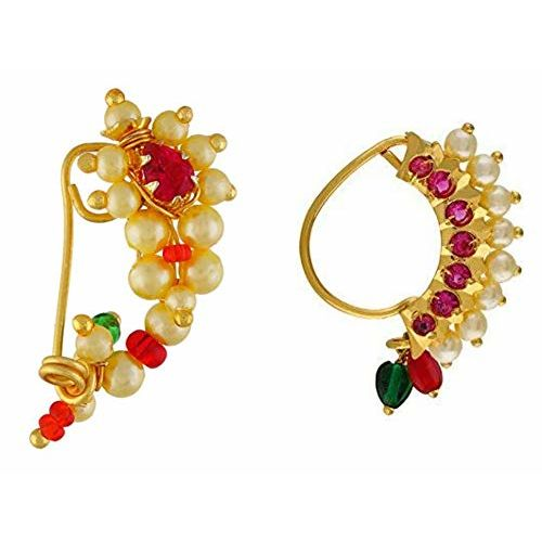 Vail Creations Traditional Maharashtrian Nose ring without piercing Pearl Gold Plated Nath Clip On Nose Ring For Women Combo of 2