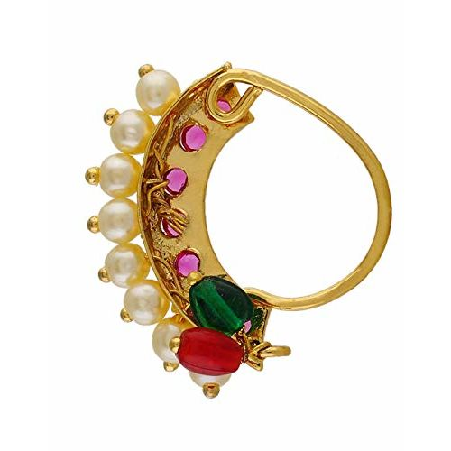 Vail Creations Traditional Maharashtrian Nath Multicolour Gold Plated Without Piercing Press or Clip on Type Nose Ring Pin for Women