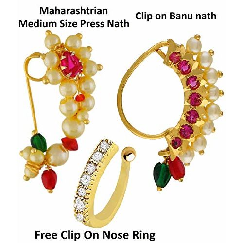 VAMA FASHIONS Maharashtrian Nath Multicolour Gold Plated Without Piercing Nose Ring Pin for Women Combo-2 Pcs
